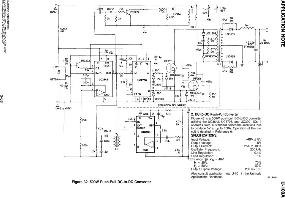 It operates from a standard telecommunications bus to produce 5V at up to 100A. Operation of this circuit is detailed in Reference 6.