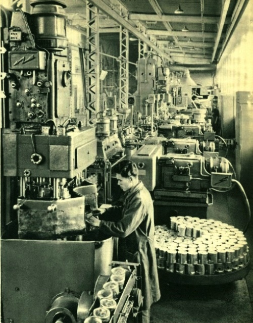 USSR Automotive Industry. Automatic line in the car factory, producing pistons for automobile engines.